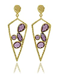 The Bohemian Gold-Plated Dangle & Drop Earring For Women Purple- E2617 - 289 (purple)