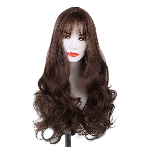 Luckhome Damen Lang Ombre Haar Perücken Mode Gelockt Gewellt Perücke Kunsthaar Cosplay Wig DIY Natürliche Welle Für Frauen Mittleren Teil Hitzebeständige(Braun)