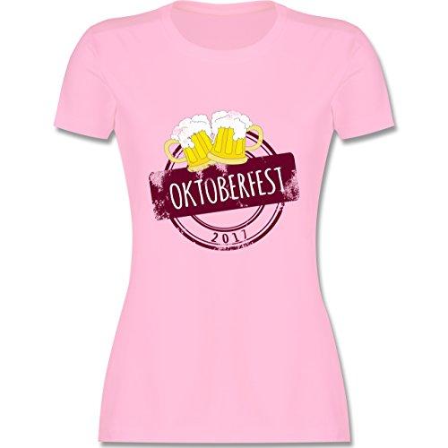 Oktoberfest Damen - Vintage Stempel Oktoberfest 2017 - tailliertes Premium T-Shirt mit Rundhalsausschnitt für Damen Rosa
