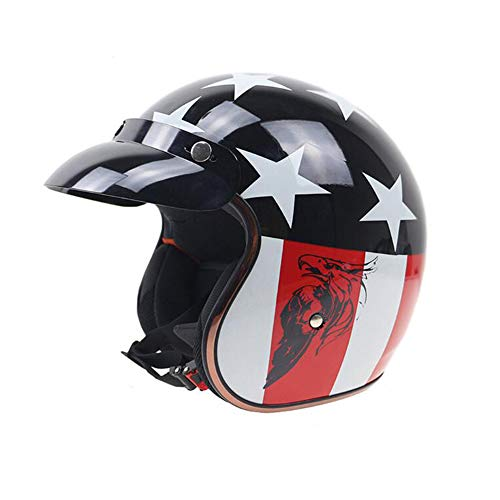 Sunzy Casco Moto da Motociclista Aperto, Casco da Strada per Uomo e Donna Harley Quattro e Quattro Anni omologato DOT,L
