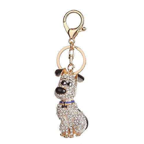 timeracing Fashion Cute Strass Dog Anhänger Wallet Auto Schlüsselanhänger Key Ring Halter Tasche Handtasche Charm Decor schwarz -