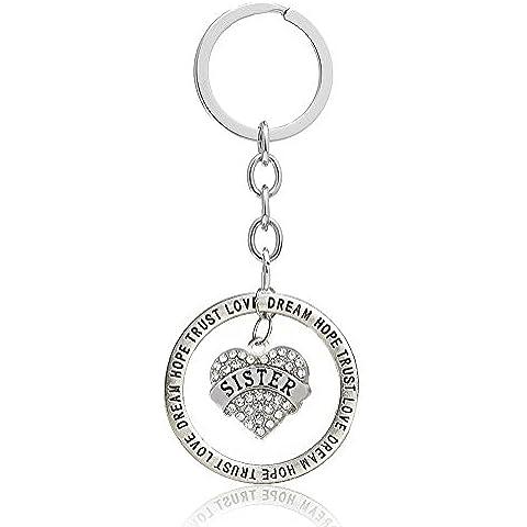 Grande mezzo Little Sister Gift Trust Love, Hope, Dream, in lega d'argento con Charm a forma di cuore, con cristalli, con pendente a forma di portachiavi-Anello da donna con gioielli di famiglia