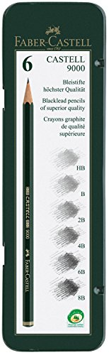 Faber Castell 119063 – Estuche de 6 lápices Castell 9000, graduación HB, B, 2B, 4B 6B y 8B, color negro, gris