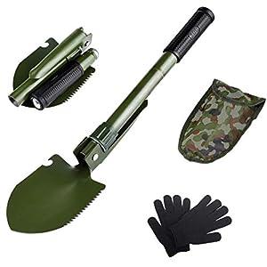 AKKlenz klappspaten Mini, Multifunktionale Tragbare Militär-Klappschaufel Mini klappspaten Tasche Ideal für Gartenarbeit…