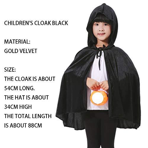 qys Halloween-Umhang Cosplay Weihnachtskostüm Langer Mantel des Todes Zauberer Hexe Prinz Prinzessin Umhang(Black,88cm)