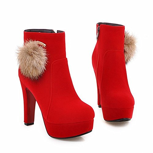 Mee Shoes Damen high heels Pompon Plateau Stiefel Rot