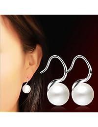 d16e3ee25ac8 Hunpta  - Pendientes de Perlas Dobles para Mujer