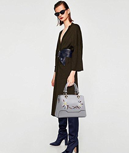 NICOLE&DORIS Frauen klassische Top Handle Handtaschen Umhängetasche Crossbody Tasche Mädchen Tote Geldbörse PU Leder Rosa Grau