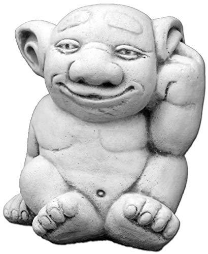 gartendekoparadies.de Lustiger Troll der spinnt doch aus Steinguss, frostfest