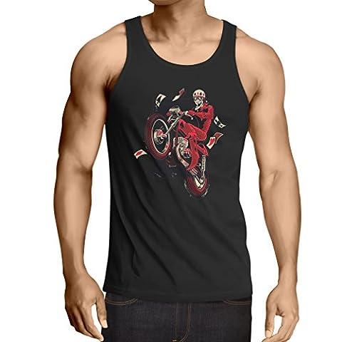 Vest Motorcyclist - Motorcycle clothing, vintage designs retro clothing (Medium Black Multi Color)