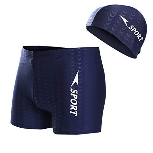Schwimmanzug Badeanzug Herren Stripe Nylon Breathable Bulge Slip Männer Badehose Badekappe Anzug Sommer(Blau,XXXL)