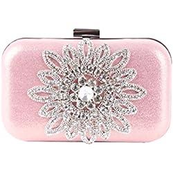 OULII Abendtasche Strass Blumen Handtasche Mode Party Hochzeit Geldbörse für Frauen Mädchen (Rosa)