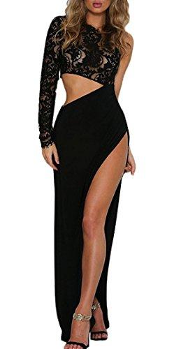 Sommer Kleider Damen Fashion Transparent Spitze Stitching Asymmetrie Maxikleid Abendkleider...
