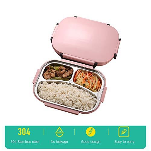 Lunchbox aus Edelstahl, Lunchbox für Kinder Lunchboxen mit 3 Fächern und auslaufsicherem Deckel für Schularbeiten im Freien Mahlzeiten und Snacks -