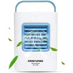 Mini climatiseur, humidificateur et purificateur pour ordinateur de bureau à domicile voyage en plein air bleu, ventilateur portable avec poignée, 3 vitesses et lumière de respiration à DEL 3 en 1 USB