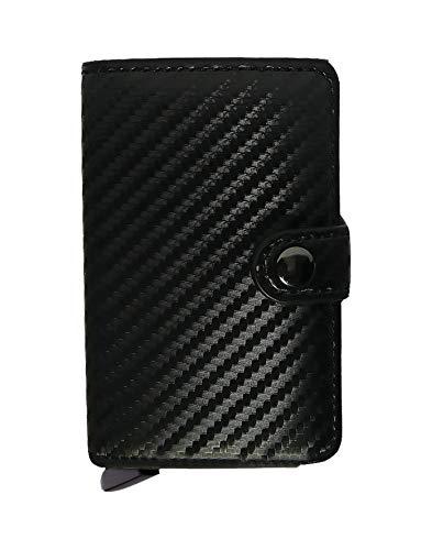 MTRX Carbon Fiber Design | Porta Carte di Credito - Protezione RFID/NFC Mini Portafoglio Uomo Clip Wallet PU e Porta Banconote | Eco Pelle