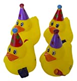 Set of Four 2 Inch Rubber Duckies Party Time