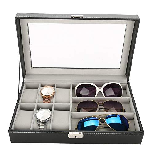 Qiterr 3 Grids Brillen Aufbewahrungsbox für Display Organizer PU Leder