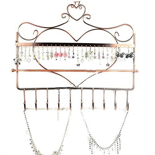 Schmuckständer, Wandhalterung Herzform Schmuck Organizer Hängen Ohrring Halter Halskette Schmuckständer Rack Schwarz (Farbe : Bronze, Größe : 34x31.5cm) -