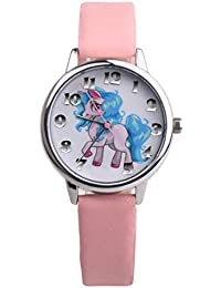 Nighteyes66 Girls Unicorn Wrist Watch Faux Leather Band Analog Display Quartz Watch Xmas Gift