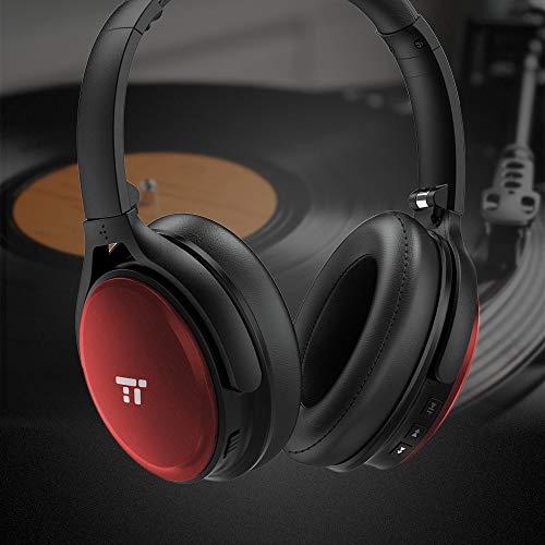 TaoTronics Noise Cancelling Kopfhörer Bluetooth Kopfhörer Over Ear mit aktiver Rauschunterdrückung 25 Std. Laufzeit, TT-BH22 eingebautes Mikro CVC 6.0, duale 40 mm Tieftontöner, Faltbare Ohrhörer rot - 7