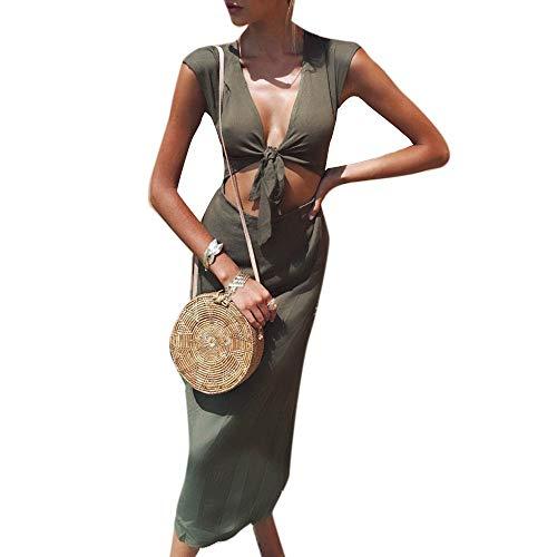 Damen Kleid Schleife V Ausschnitt Tief Ärmellos Bleistiftkleid Etuikleid Mode Marken Bauchfrei Knielang Sommerkleid Partykleid Business Streetwear Casual Urlaub Zweiteilig ( Color : Grün , Size : M )