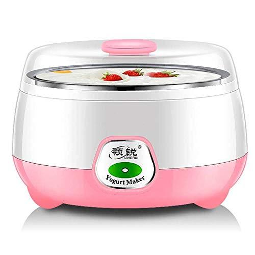 ELECT Kleine Haushaltsgeräte, Joghurt Maschine, Natto Reiswein Maschine, 1 Liter Edelstahl Haushalt Mini konstante Temperatur Joghurt Maschine, vollautomatisch,Rosa,Einheitsgröße