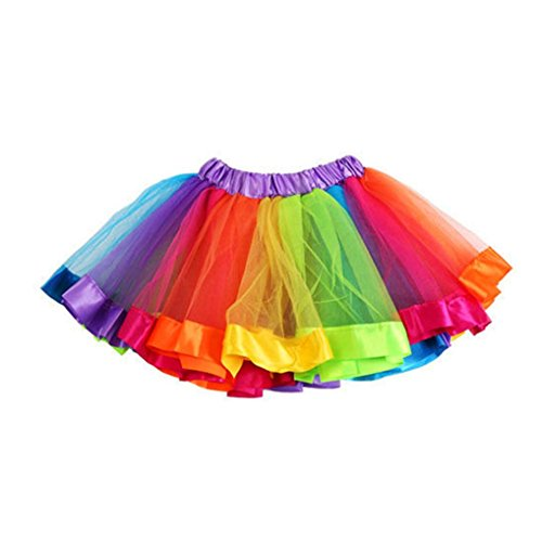 Rcool Mädchen Kinder Satin Bowkno Petticoat Tüll Rainbow Pettiskirt t Tutu Kleid (S, (S 80 Kostüm Rainbow)