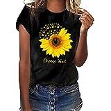 Kviklo Deman Plus Size T-Shirt Top Viele stilvolle Sonnenblumen Liebe Druck Kurzarm Summer Fashion Bluse(S(36),Schwarz-Rock-Geste)