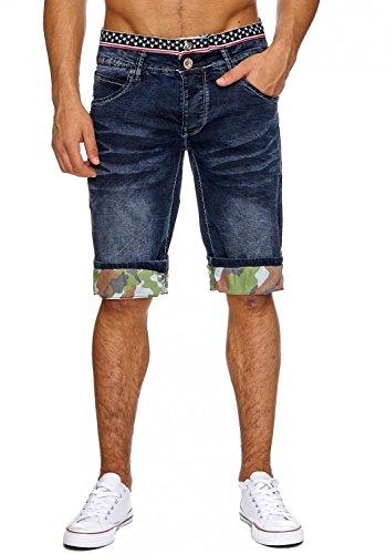 Baumwolle Crinkle-shorts (Herren Jeans-Shorts · in Regular Fit mit Used Details, Crumble Crinkle Bleached Waschung, Bermuda mit geradem Bein (Straight Leg) und Camouflage Print · H1863 von Jaylvis)