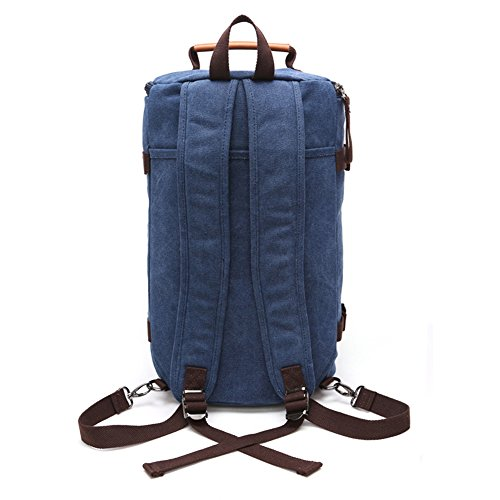 Fresion Cylinder Canvas Backpack Rucksack Outdoor Backpack Duffel Bag for Men and Women with 3 Ways of Carrying (Dark Blue) Dark Blue