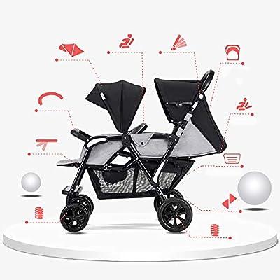 XYL Silla de Paseo Plegable Doble para bebé/bebé con una combinación de Canasta de Almacenamiento Grande Arnés de Cinco Puntos Tragaluz Grande Cochecito cómodo,Gris