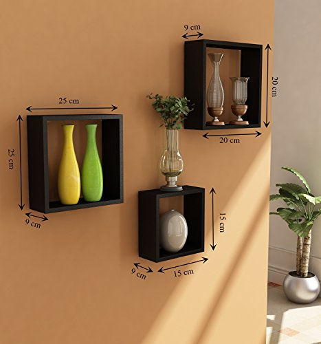 Home Sparkle Wooden Cube Wall Shelf (Set of 3, Black)