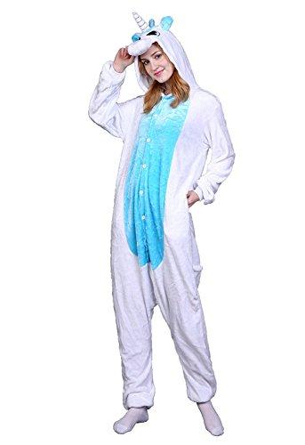 ABYED® Kostüm Jumpsuit Onesie Tier Fasching Karneval Halloween kostüm Erwachsene Unisex Cosplay Schlafanzug- Größe S - für Höhe 148-155cm, Weiß/Blaue Einhorn