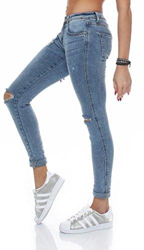 SKUTARI Damen Baggy Jeans Destroyed zerrissen Boyfriend Blau