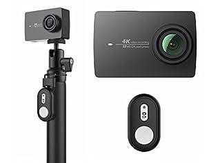 YI 4K Action Camera schwarz mit Bluetooth-FB und Selfie-Stick, offizieller Deutschlandvertrieb, 4K Videoaufnahmen, 12 MP Fotos, geniale Bildstabilisierung EIS, 2h Akkulaufzeit, Gorilla-Glas-Touchscreen, 5GHz WiFi, Life Streaming zu Facebook u. You Tube, Stereomikrofon CD-Qualität, Verzerrungskorrektur LDC, Bearbeitung u. Teilen per App, YI Community, Xiaoyi 4K Aktionkamera, Xiaomi 4K Aktion Kamera