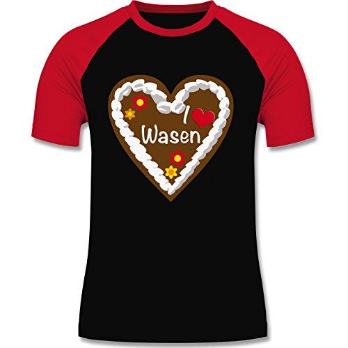 Oktoberfest Herren - Lebkuchenherz I love Wasen Stuttgart - L - Schwarz/Rot - L140 - zweifarbiges Baseballshirt für (Mann Outfit Lebkuchen)