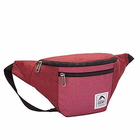 Outdoor Gear Sac banane étanche / sac de voyage de taille fourre-tout en toile jacquard - Rouge et