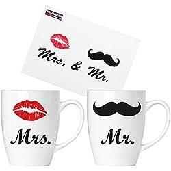 Brubaker Mr. & Mrs. Tassen Set aus Keramik - Grußkarte und Geschenkpackung