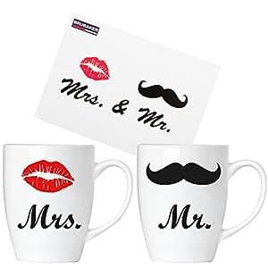 BRUBAKER Tazze in porcellana con scritta 'Mr. & Mrs.' con biglietto d'auguri - Set da due in confezione regalo
