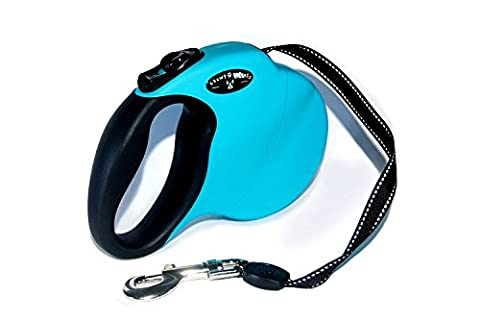 Chewy Express Retractable Dog Leash Walking Dog Lead for Dogs up to 110 lbs (50 kgs) - Easy One-Finger Lock Control and Reflective Lead - Blue -