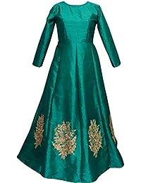 Shree Women's Silk Unstitched Lehenga Choli (SRENT014_Green_Free Size)