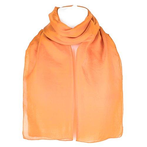 Foulard pura seta tinta unita, scialle, coprispalle (arancione)