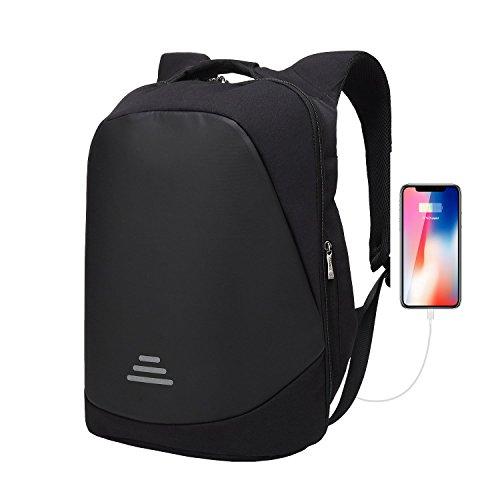 Zaino per PC 17.3 pollici Antifurto Impermeabile Unisex con USB Porta Borsa per Bussiness Lavoro Scuola Affari Viaggio-Nero
