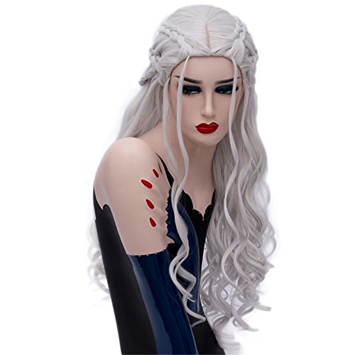 uffy Christmas Cosplay Wigs for Women Long Loose Wave Wavy 6 Braids Silver (Game Of Thrones Daenerys Kostüme)