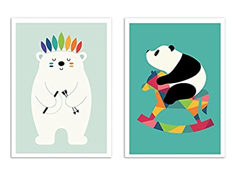 2 Art-Posters for baby and kid - 30 x 40 cm - Panda et polar bear - Andy Westface