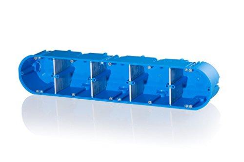 Image of f-tronic Hohlwand-Gerätedose massiv, 5-fach, 60 mm tief, Inhalt: 5, blau, HW50
