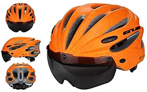 Fahrradhelmmit Brille Scooter Helm Unisex Erwachsene Leichte Fahrradhelm One-Piece Molding Fahrradhelm für Straßen/Mountainbikes eislauf Skateboard (58-62cm) motorradhelm,Orange