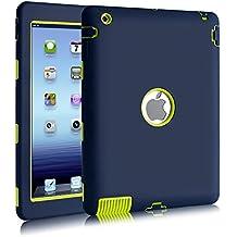 iPad 2 Funda, iPad 3 Funda, iPad 4 Funda, BENTOBEN a Prueba de Golpes PC+ Silicona Resistente Híbrido Funda Tres Capas Carcasa Cubierta Diseñado para Apple iPad 2/3/4, Azul Oscuro&Verde
