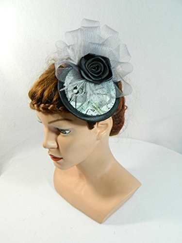 Fascinator grau blau Crin Damenhut Kopfschmuck Headpiece Burlesque 20er Haarschmuck